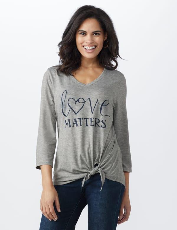 LOVE Matters Tie Front Screen Tee - Heather Grey - Front