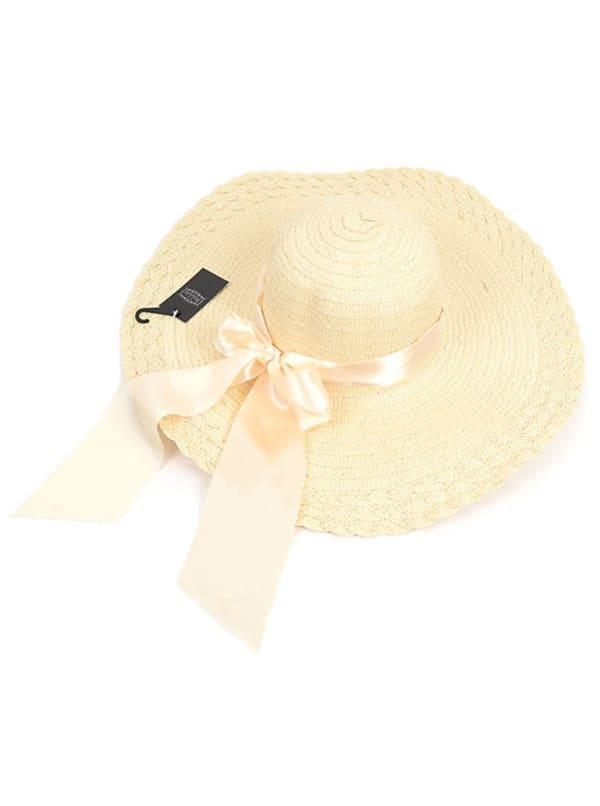 Womens Brim Bow Floppy Hat - Beige - Front