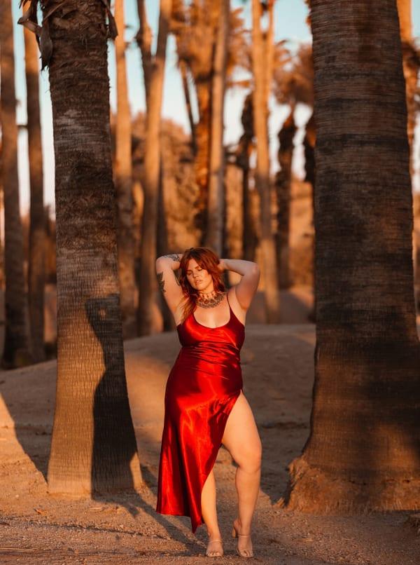 Curve Ruby Slip Dress - Plus - Ruby - Front