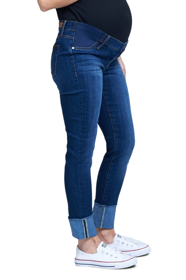 Maternity  Seven 7 Signature Cuffed Skinny Jeans with Side Panel Belly - Misses - Refined - Front