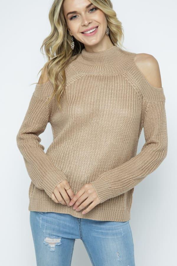 Cold Shoulder Knit Mock Neck Pullover - Coco - Front