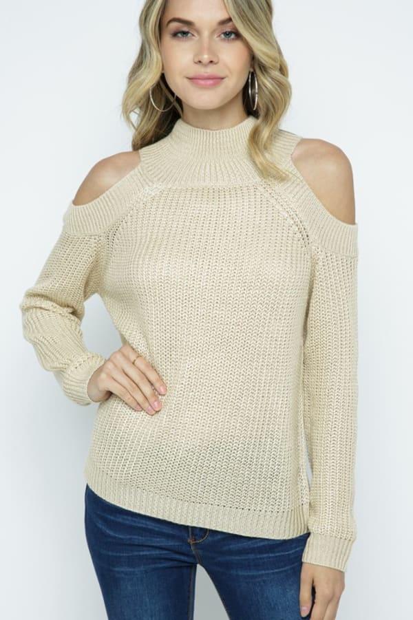 Cold Shoulder Knit Mock Neck Pullover - Ivory - Front