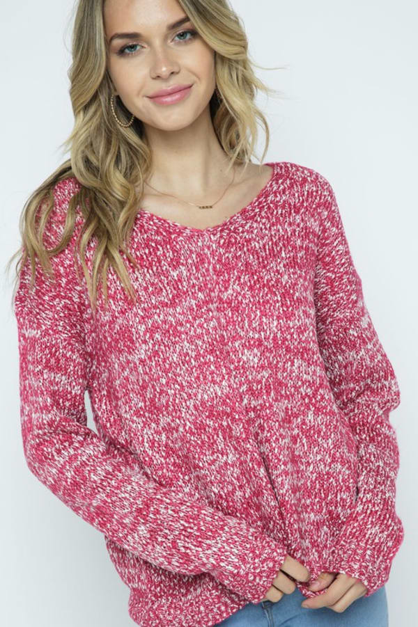 Soft Yarn Two Tone V-Neck Pullover - Fuchsia - Front