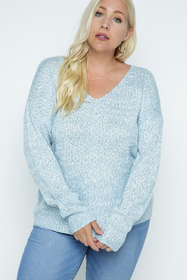 Soft Yarn Two Tone V-Neck Pullover - Plus - Light Blue - Front