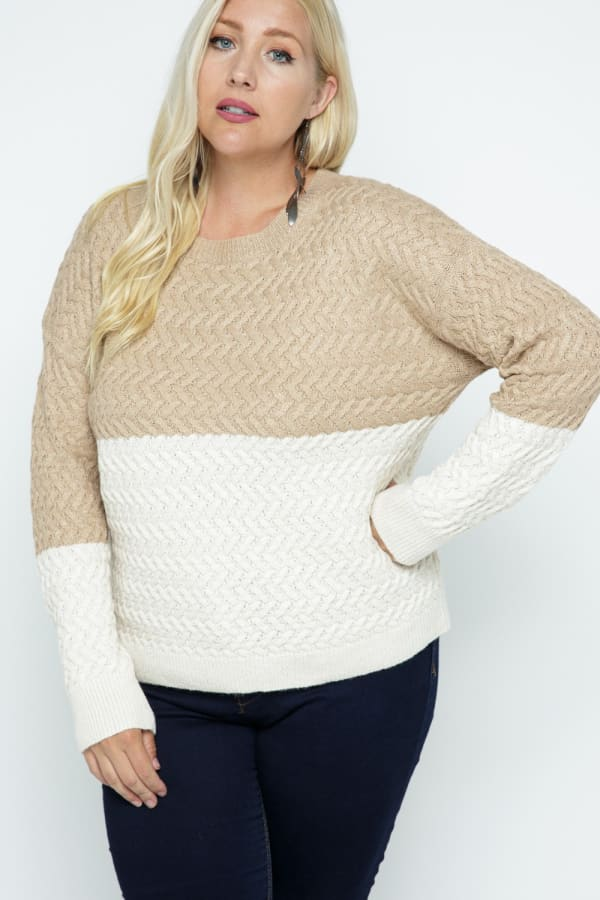 Color Block Cable Knit Pullover - Plus - Coco - Front