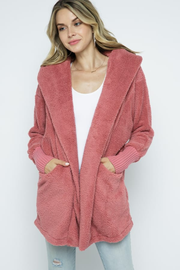 Fuzzy Oversized Hoodie with Slip Pockets and Ribbed Sleeves - Dusty Rose - Front