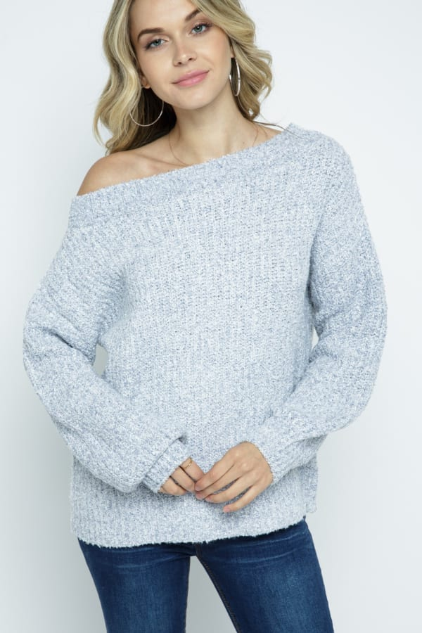 Melange Off Shoulder Pullover Sweater - Icy Grey - Front