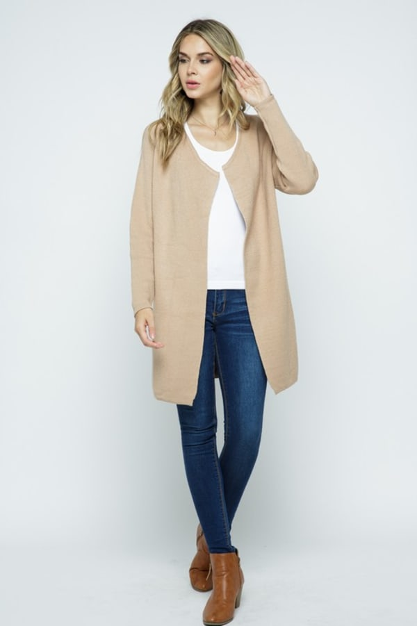 Fine Knit Open Front Draped Cardigan - Coco - Front
