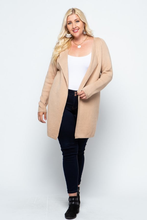 Fine Knit Open Front Draped Cardigan - Plus - Coco - Front