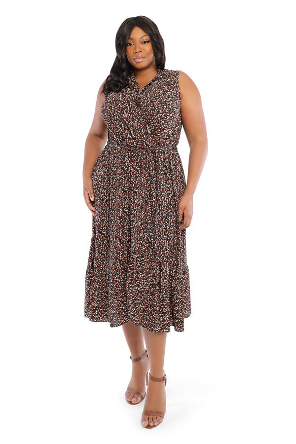 Donna  Confetti  Dress - Plus - Black/red - Front