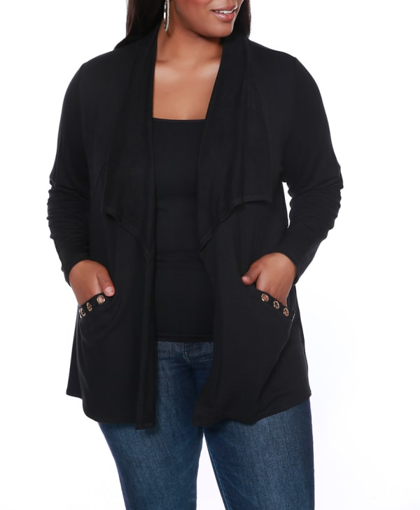 Grommet Pocket Shawl Cardigan -Black/Gold - Front