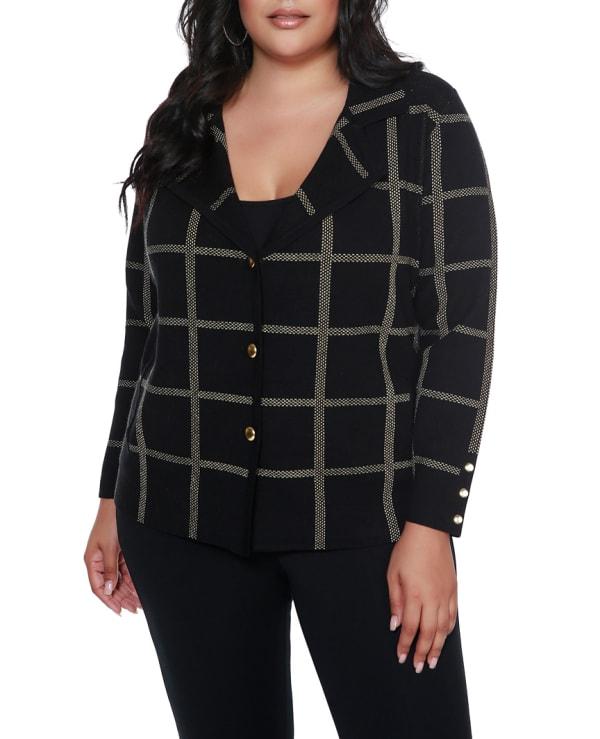 Plaid Sweater Jacket - Plus - Black/Gold - Front
