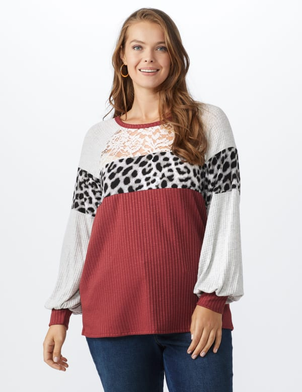 Marsala Animal Mix Media Knit Top - Plus - Marsala - Front