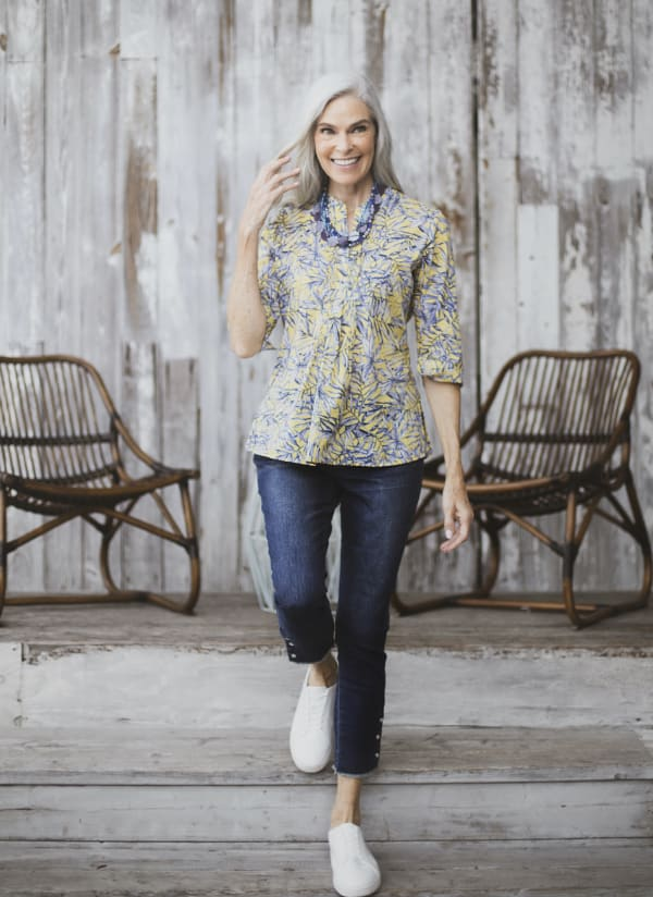 Voile Popover Woven Top - Blue/Yellow - Front