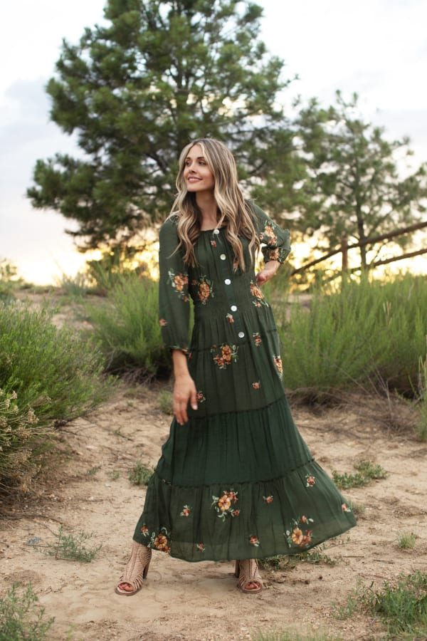 Embroidered Texture Peasant Dress - Olive - Front
