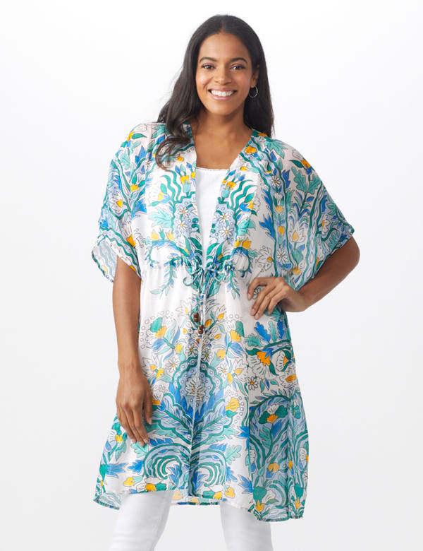 Paisley Tie Front Swim Cover up - Bright White - Front