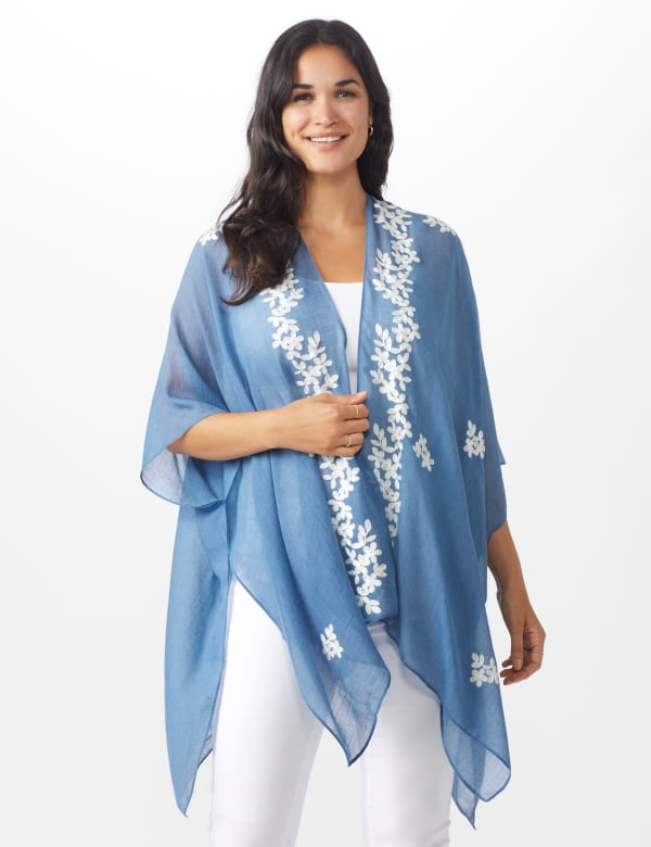 Chambray Embroidered Floral Kimono - CHAMBRAY - Front
