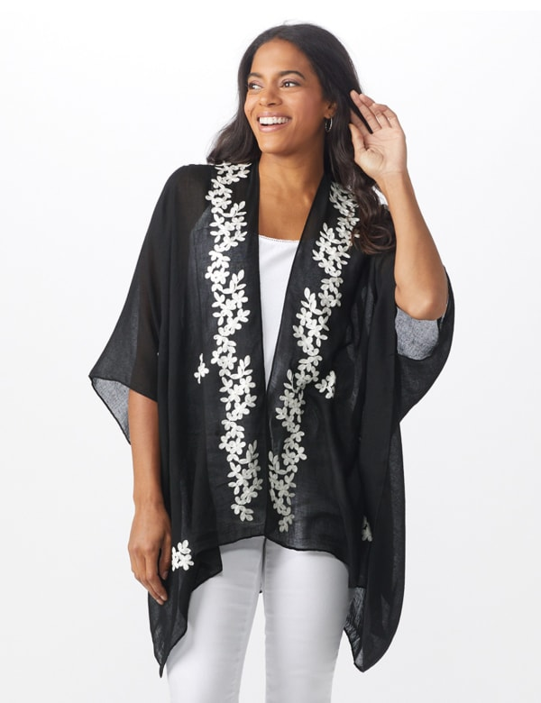 Chambray Embroidered Floral Kimono - Black - Front