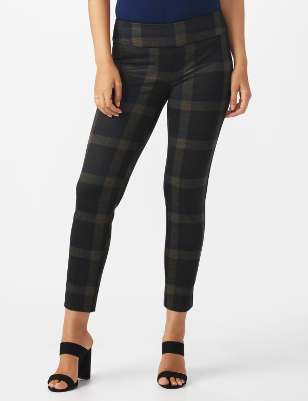 Pull On Plaid  Compression Fit Print Pant - Grey/rust - Front