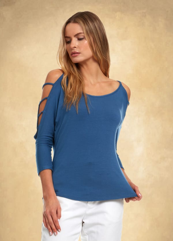 3/4 Sleeve Strappy Shoulder Knit Top - Denim Blue - Front