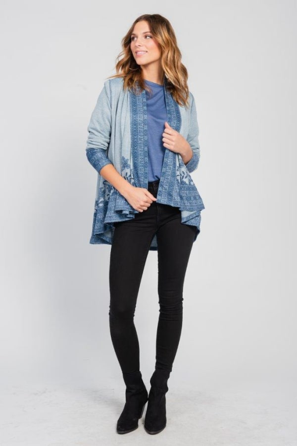 Border Print Open Knit Cardigan - Misses - Blue - Front