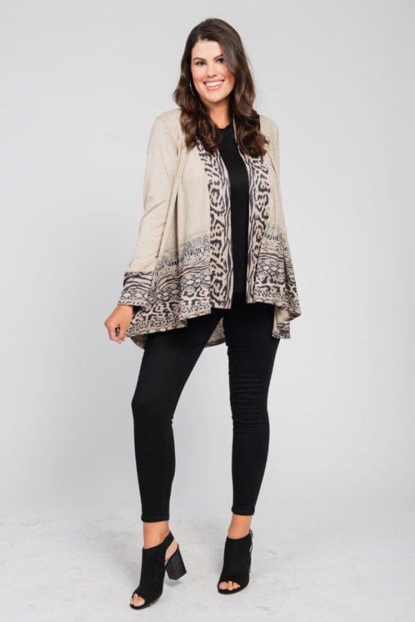 Border Print Open Knit Cardigan - Plus - brown - Front