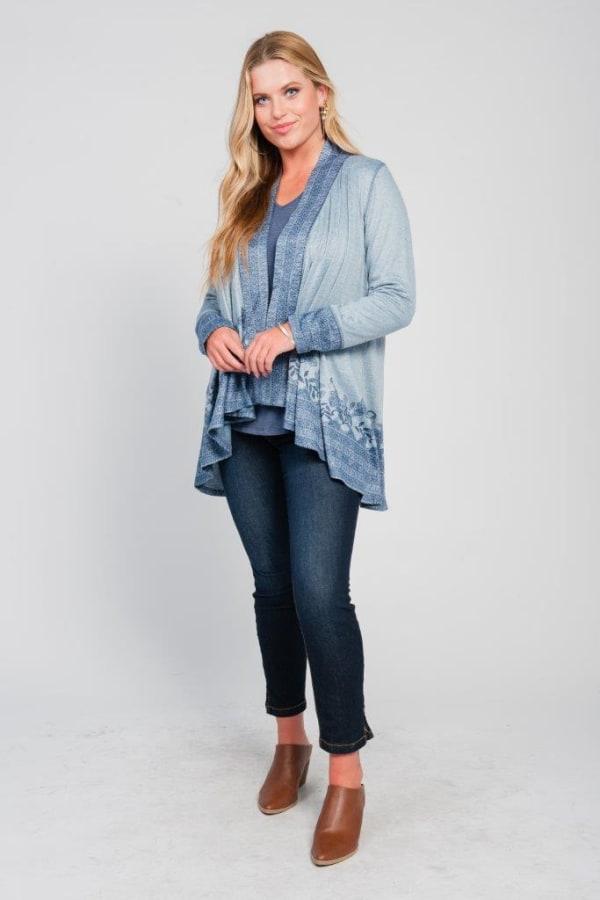 Border Print Open Knit Cardigan - Plus - Blue - Front