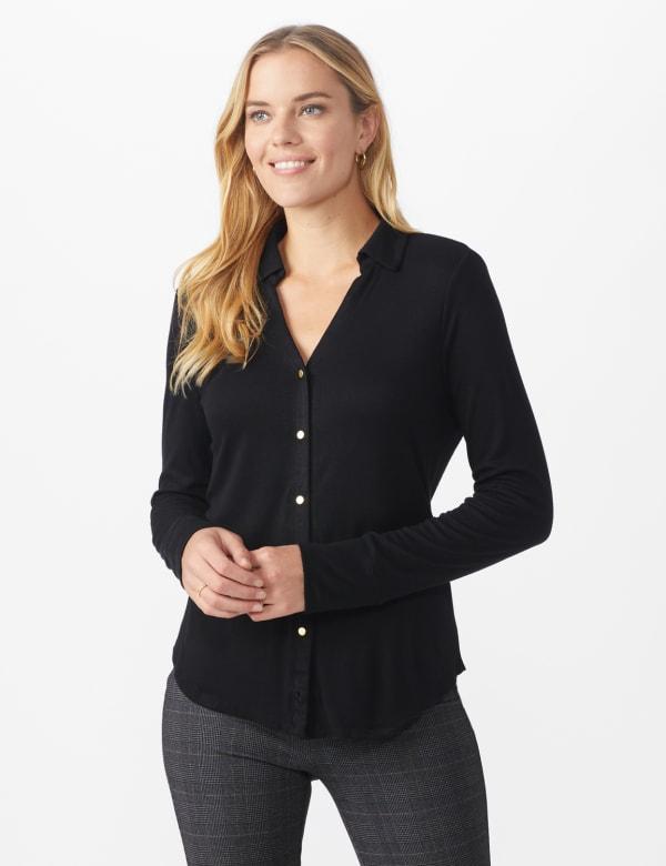 Rayon Span Pique Shirt - Misses - Black - Front