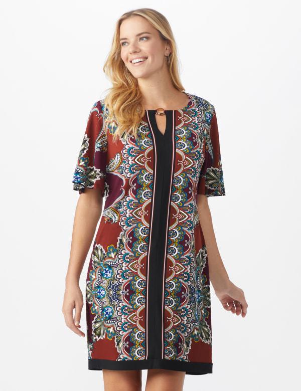 Border Sheath Dress - Misses - Sienna/Wine - Front