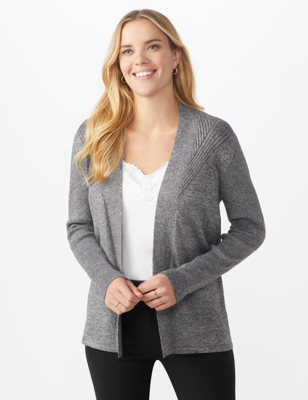 Roz & Ali Everyday Cardigan - Misses - Black/Coconut White - Front