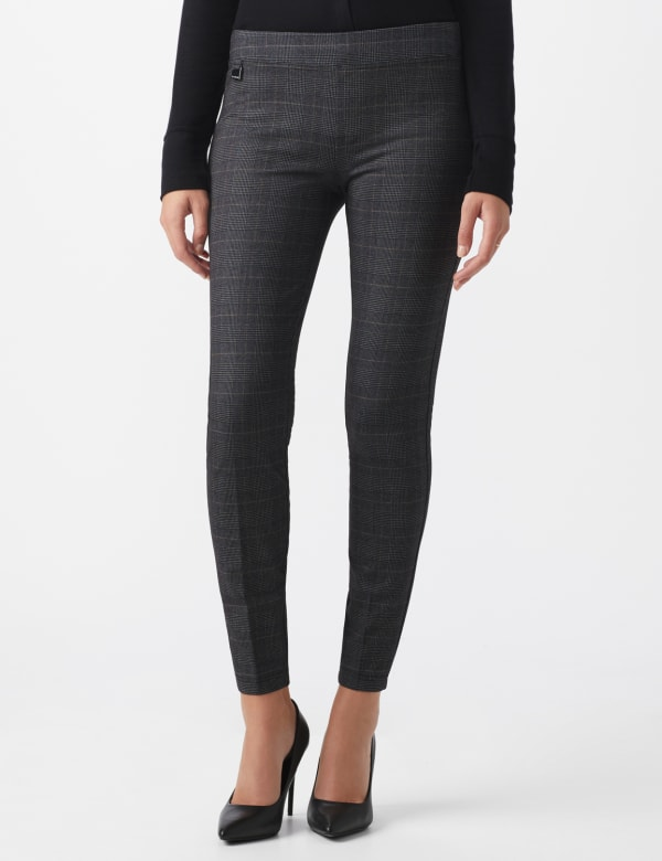 Pull On Plaid Pattern Compression Pant - Black/white/sand - Front