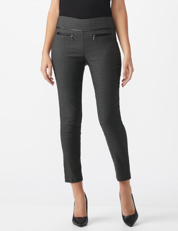 Pull On Pant with Pleather Pocket Detail - Black/white - Front