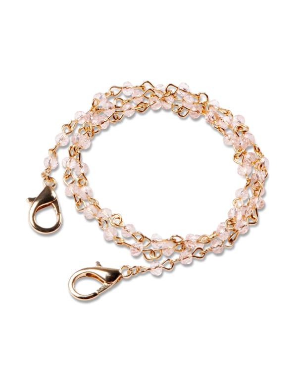 Light Rose Beaded Mask Chain - Rose/Gold - Front