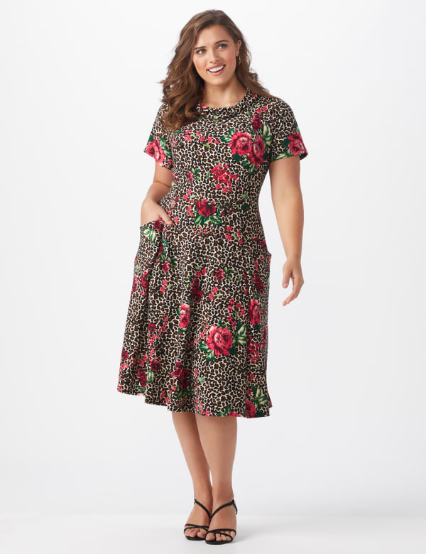 Leopard Rose Dress - Plus - Brown/pink - Front