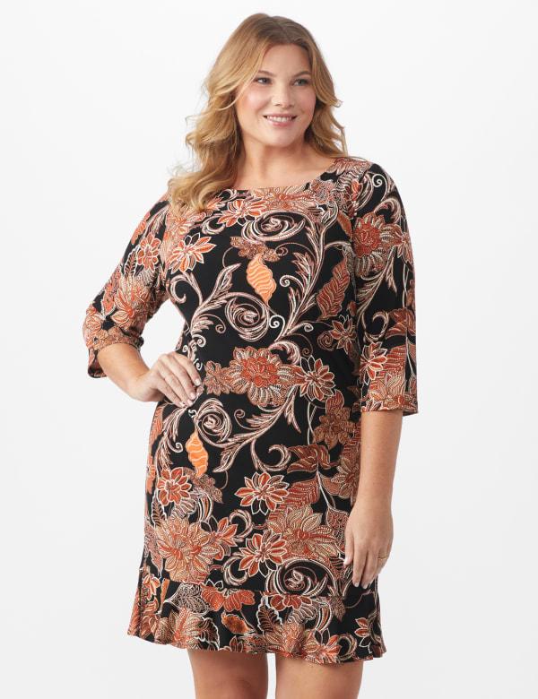 Scroll Floral Flounce Hem Dress - Plus - Rust/Black/Ivory - Front