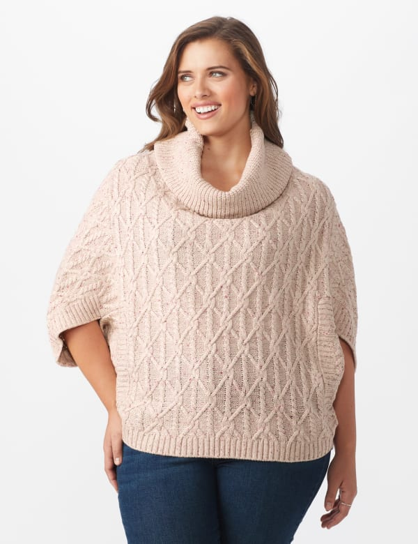Westport Novelty Yarn Poncho Sweater - Plus - Pale Khaki - Front