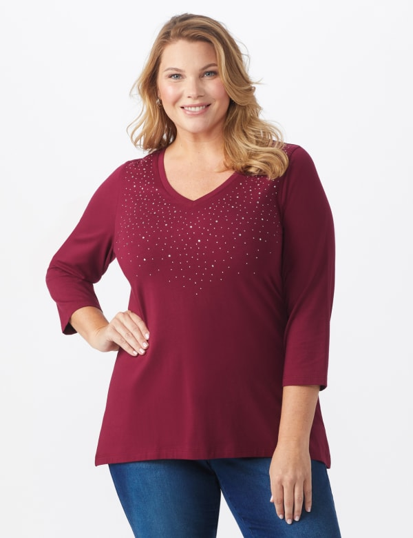 DB Sunday V Neck Stud Knit Top - Plus - Burgundy - Front