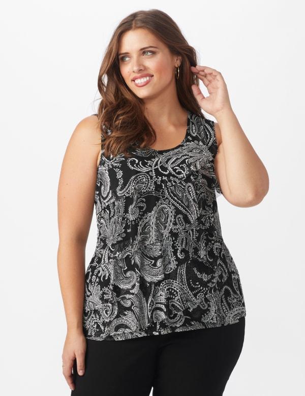 Westport Paisley Mesh Tiered Knit Top - Plus - Black - Front