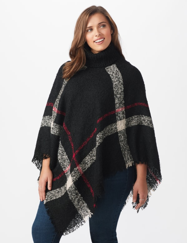 Roz & Ali Plaid Sweater Poncho - Plus - Black Combo - Front