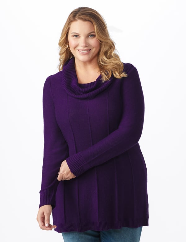 Cowl Neck Fit & Flare Sweater - Aubergine - Front
