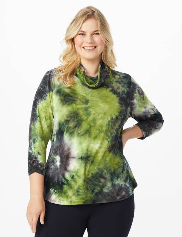 """""""Never Forget Your Mask"""" Denim Friendly Tie Dye Top - Plus - Olive/Navy - Front"""