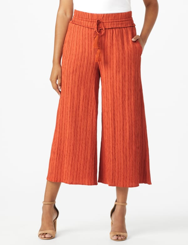 Cropped Palazzo Pant with Elastic Waistband - Misses - Cinnabar - Front