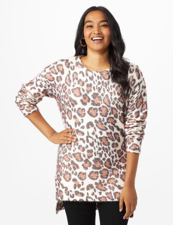 Roz & Ali Eyelash Animal Sweater Tunic - Multi - Front