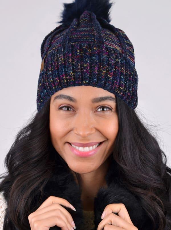 Extra Soft Novelty Knit Winter Hat - Navy - Front