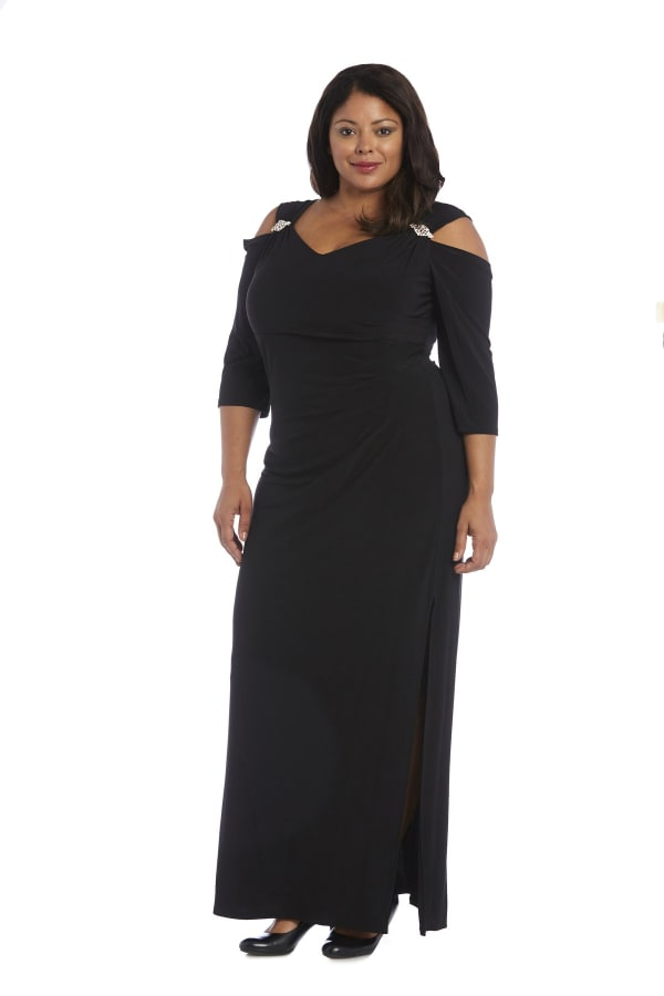 Column Evening Gown with Shoulder Cutouts and Diamante Embellishments - Plus - Black - Front