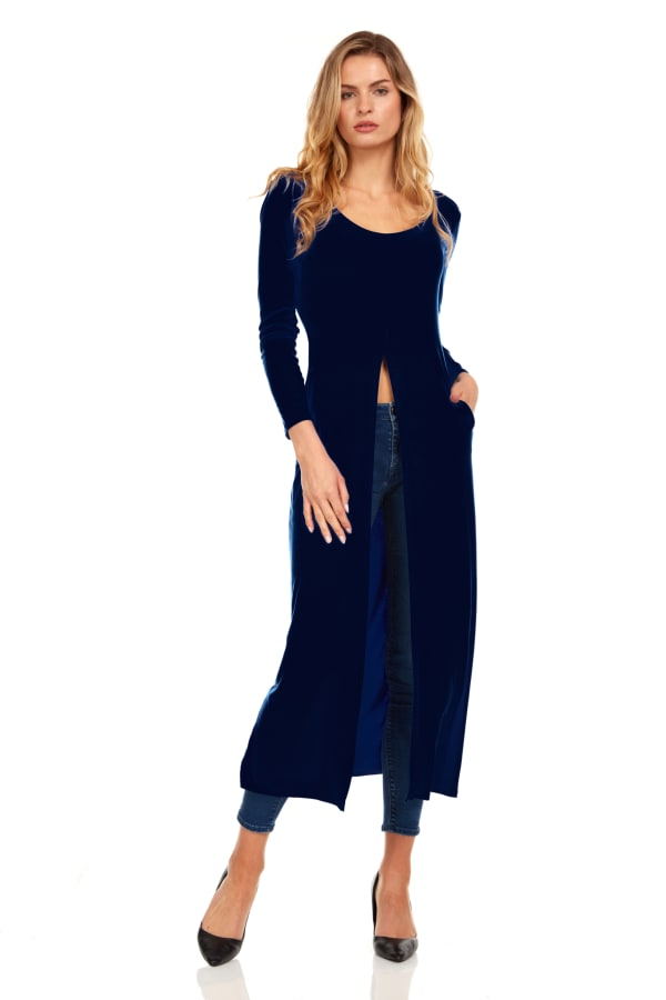 Front Slit Long Sleeve Shirt with Pockets - Navy - Front