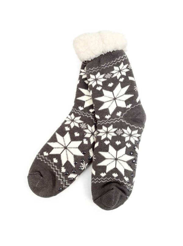 Snowflakes Sherpa Lined Slipper Socks - Grey - Front