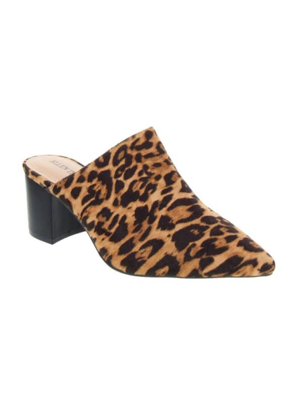 Emma Fashion Heeled Mules - Leopard - Front