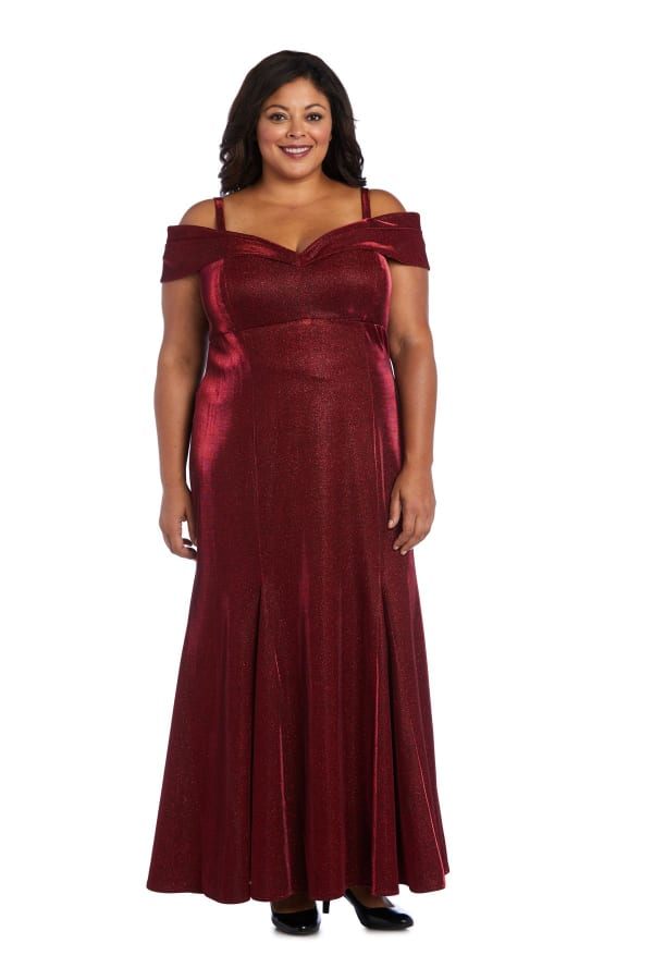 Off-the-Shoulder Gown with Fishtail and Metallic Finish - Plus - Scarlet - Front