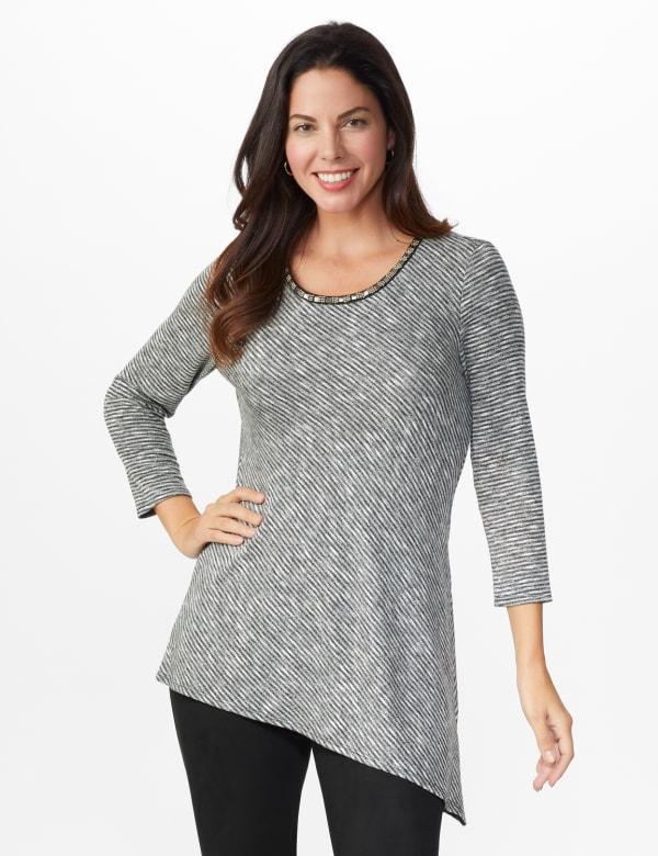 Westport Space Dye Embellished Asymmetrical Knit Tunic - Grey/Black - Front